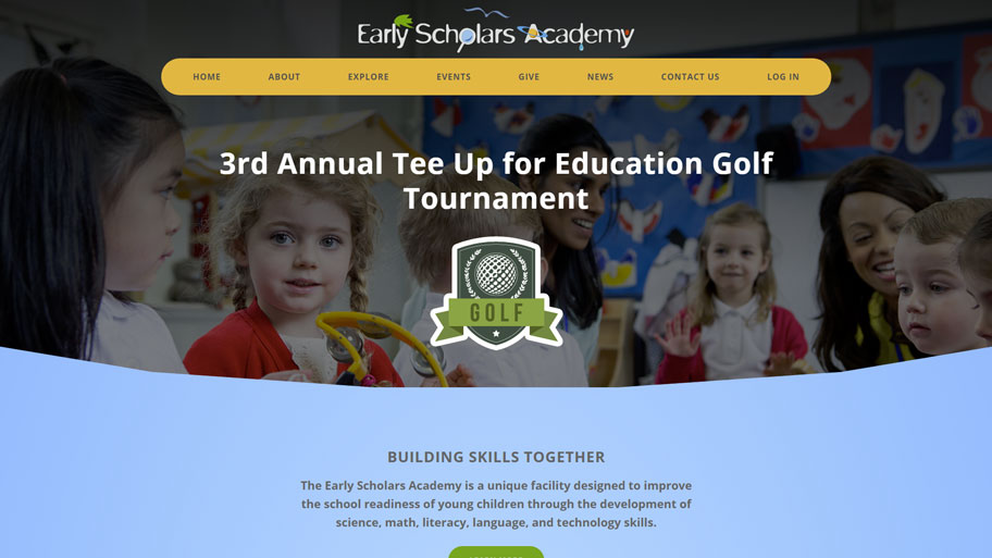 Screenshot of Early Scholars Academy website.